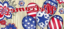Welcome Door Mat Tray with Sassafras Patriotic Balloons Inse
