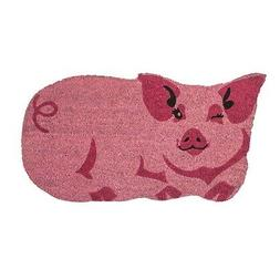 Winking Pink Pig Shaped Doormat Welcome Mat - Coir Floor Mat