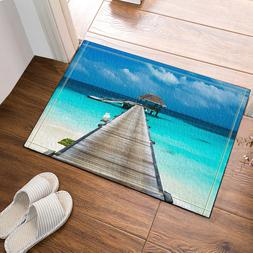 Wooden Bridge Bungalow Beach Bath Rug Non-Slip Floor Indoor