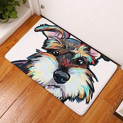 YJ Bear Thin Lovely Gray Dog Pattern Floor Mat Coral Fleece